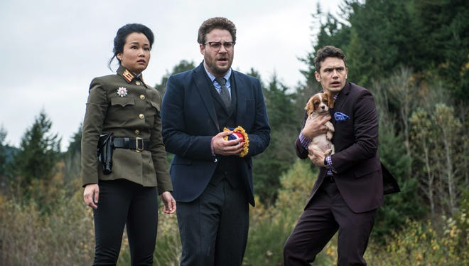 """Seth Rogen (center),  James Franco and Diana Bang star in """"The Interview."""""""