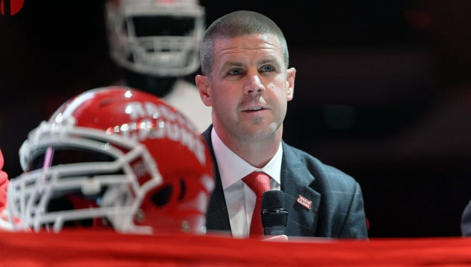 New UL coach Billy Napier looks on during his introductory press conference.   Scott Clause/The Advertiser Dec 18, 2017; Lafayette, LA, USA; Billy Napier (right) is introduced as the Louisiana-Lafayette Ragin Cajun head football coach. Mandatory Credit: Scott Clause/Montgomery Advertiser via USA TODAY NETWORK