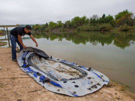 Gonzalez finds at an inflatable raft used to smuggle people or drugs across the Rio Grande in Rio Grande City, Texas, one of the hot spots for drug smuggling on the border.