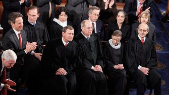 Supreme Court justices listen to President Obama's State of the Union in 2010.