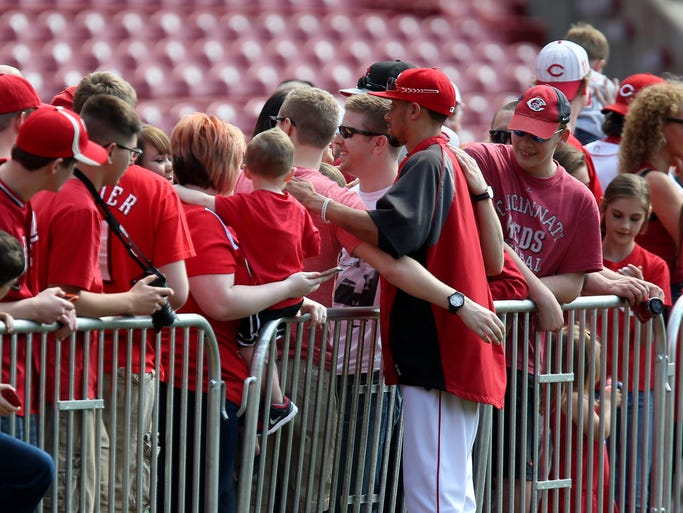 Center fielder Billy Hamilton poses with fans.