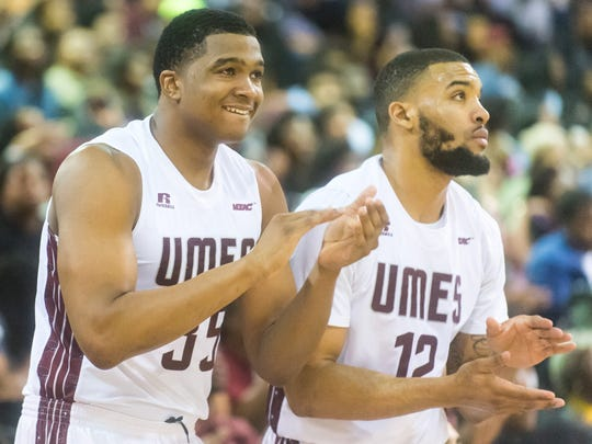 UMES forwards Isaac Taylor (35) and Shane Randall (12) react to a call against Howard on Monday, Feb 1 at the William P. Hytche Athletic Center in Princess Anne.