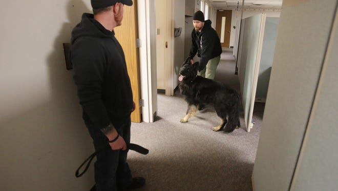 K-9 officers and their partners train at the former Affinity Medical Center. Canal Fulton Officer Josh Barabasch and K-9 Bishop search rooms for narcotics.