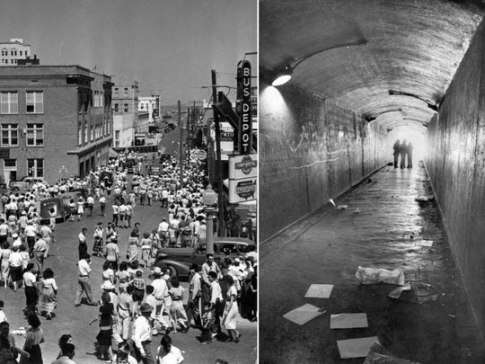 A large crowd turned out in February 1929 (left) when the city's bluff tunnel was opened. The tunnel in 1975 (right) when the city debated whether to keep it open or close it. The city closed it in 1977. Opening day photo by Sammy Gold; 1975 photo inside the tunnel by George Gongora.