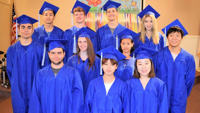The Tabernacle Christian Academy graduating class poses together. Front row, left to right: Jacob M. Bouffard, Meitong Chen, Gabby Li. Middle row, left to right: Gabriel S. Acuna, Emilie F. Hostetter, Tongyu Yang, Hyunho Jeong. Back row, left to right: Xiyao Zhang, Brian H. George, Aram E. Mergian, Jingyi Yu.