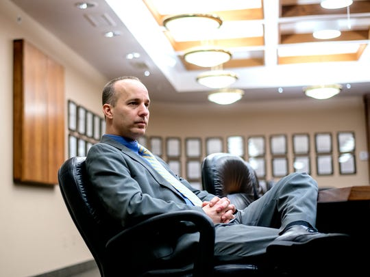 Lansing Mayor-elect Andy Schor pauses during an interview
