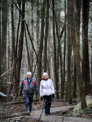 Cliff and Diane Aldrich enjoy the Sugarlands Valley Nature Trail on Monday, Dec. 19, 2016, in the Great Smoky Mountains National Park. The retired art instructors from Gatlinburg hike the half-mile trail daily, weather permitting.