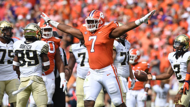 Clemson defensive lineman Austin Bryant (7) reacts after a defensive stop[ against Wake Forest during the 1st quarter on Saturday, October 7, 2017 at Clemson's Memorial Stadium.