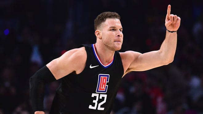 Blake Griffin of the Clippers celebrates his basket during the first half against the Thunder on Jan. 4, 2018 in Los Angeles.
