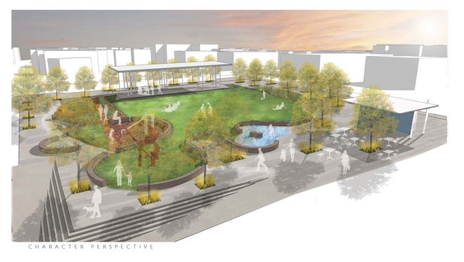 Architect's rendering of proposed Civic Park Plaza in downtown Clarksville.