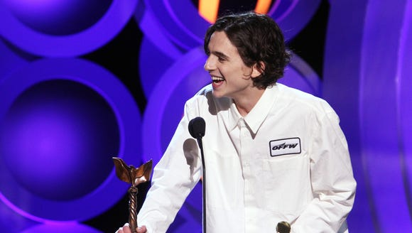 Actor Timothee Chalamet accepts Best Male Lead for