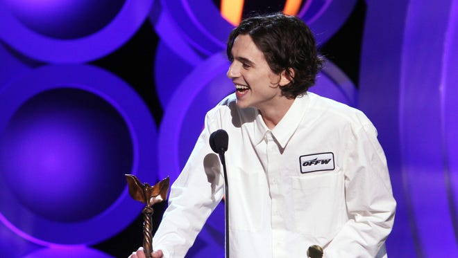 Actor Timothee Chalamet accepts Best Male Lead for 'Call Me by Your Name' onstage during the 2018 Film Independent Spirit Awards.