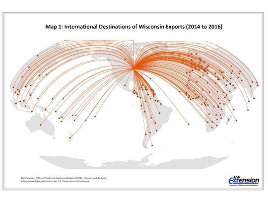 International destinations of Wisconsin exports, 2014