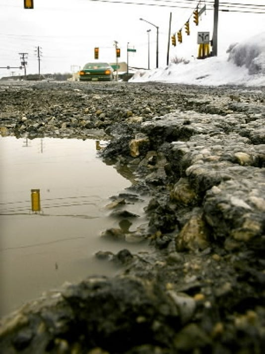 This pothole popped up years ago near South Queen Street in York Township.  (York Daily Record/Sunday News -- Bil Bowden)