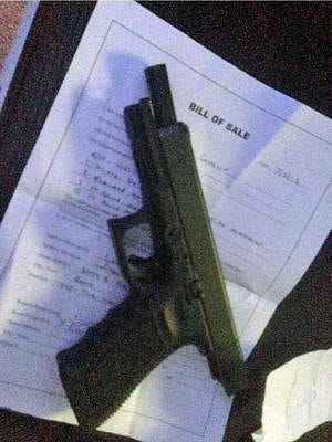 This is a photograph that Jill Schaller took of a Glock a Reno Police Department sergeant sold to her mentally ill son. This sale launched the Reno Gazette-Journal investigation of gun sales and if courts are following laws designed to keep people with mental problems from purchasing guns from licensed dealers.
