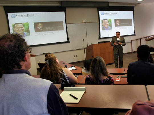 About three dozen people attended a talk given by Ken Morris, the great-great-great grandson of Frederick Douglass and great-great-grandson of  Booker T. Washington, at CSU Channel Islands on Thursday.