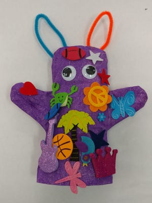 A hand puppet made by an ArtPlay student