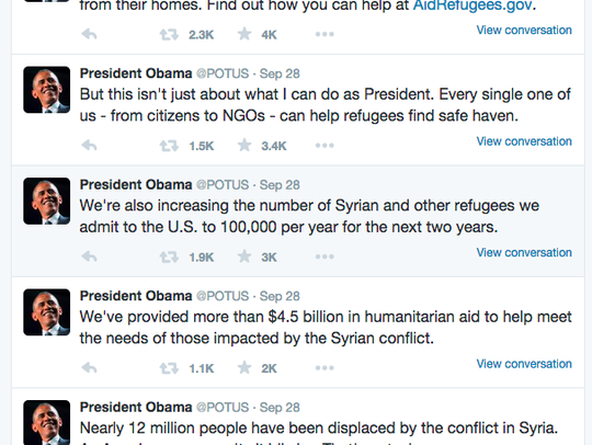 President Obama has called on the nation to aid refugees.