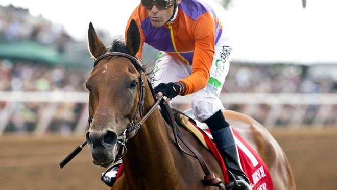 Spendthrift Farm's Beholder and jockey Gary Stevens win the Grade I, $300,000 Clement L. Hirsch Stakes, Saturday, August 1, 2015 at Del Mar Thoroughbred Club.