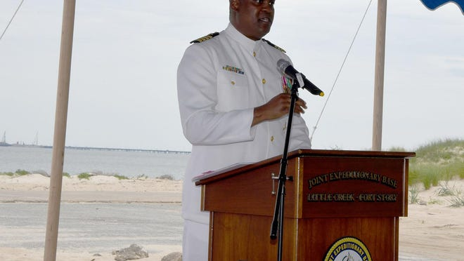 Capt. Michael L. Witherspoon speaks June 25, 2020, as he was installed as the sixth commander of Joint Expeditionary Base Little Creek-Fort Story in Virginia Beach, Virginia..