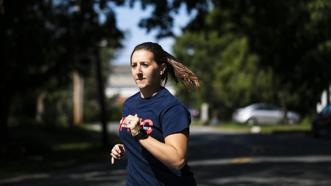 Bridgewater resident and Brockton teacher Allison Hamblett, 28, trains to run the Boston Marathon for a fourth time at the War Memorial Park in West Bridgewater on Monday, Sept. 7, 2020. Hamblett is running the Boston Marathon virtually next week for Dana Farber.