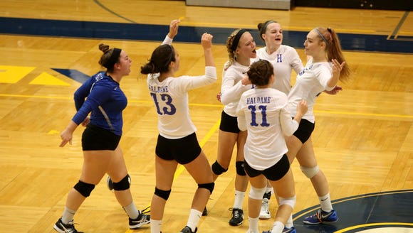 Haldane celebrates a point in the Section 1 Class C