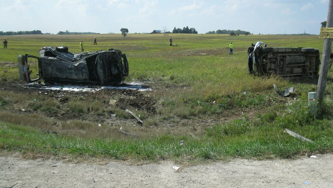 Early Tuesday afternoon a two vehicle accident led to cars colliding and a fire igniting in Marion Township.