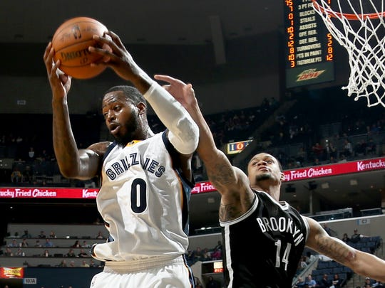 Memphis Grizzlies JaMychal Green grabs a rebound from