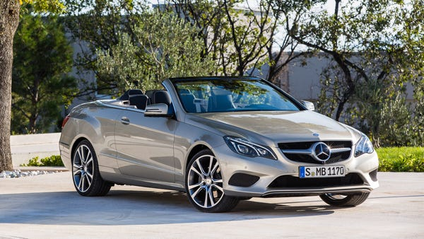 The 2014 Mercedes E550 has a 4.6-liter bi-turbo V8 engine that spins out 402 horsepower and 443 lb.-ft. of torque. You can go 0-60 mph in 4.9 seconds. Fuel economy is rated 17/26-MPG city/hwy.