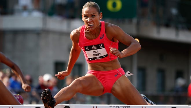 Lolo Jones competes in the 100-meter hurdles during the 2015 USA Outdoor Track & Field Championships at Hayward Field on June 26, 2015 in Eugene, Ore.