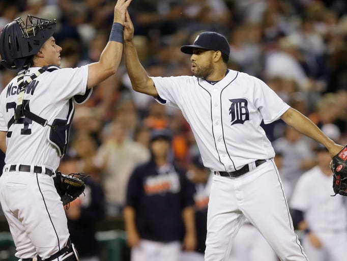 Detroit Tigers relief pitcher Francisco Rodriguez high-fives