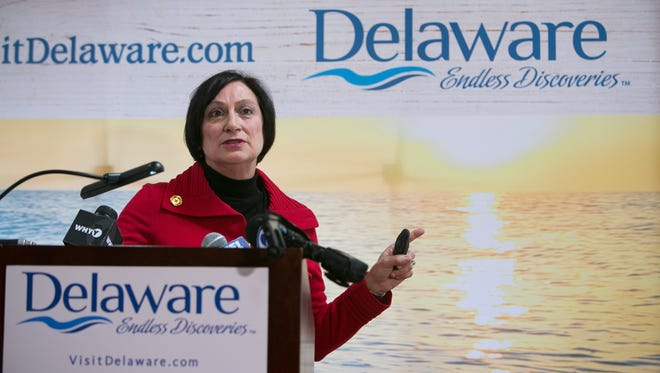 Delaware Tourism Director Linda Parkowski speaks at the Dew Point Brewing Co. in Yorklyn to discuss new data showing 8.5 million visitors came to Delaware in 2015.