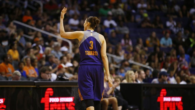 Phoenix Mercury star Diana Taurasi wants more noise from the crowd against the Dallas Wings in the second half on Saturday, May 27, 2017 at Taking Stick Resort Arena in Phoenix, Ariz.