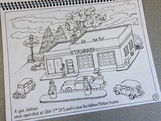 A page inside the Lake George Neighborhood Association coloring book, with artwork by Kat Patton.