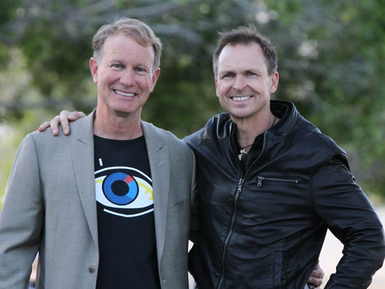 "American Documentary Film Festival founder Teddy Grouya, left, and ""Le Ride"" director Phil Keoghan, who is the director and main personality of ""The Amazing Race"" attend opening night of the festival at the Camelot Theatre in Palm Springs on Friday, March 31, 2017."