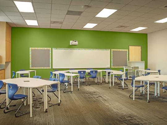 This rendering shows the proposed agile classroom furniture