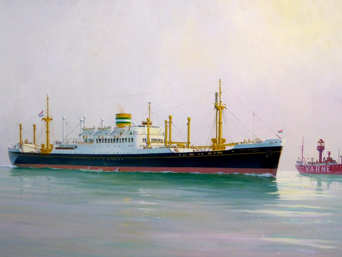 A combination passenger ship and cargo liner, the first