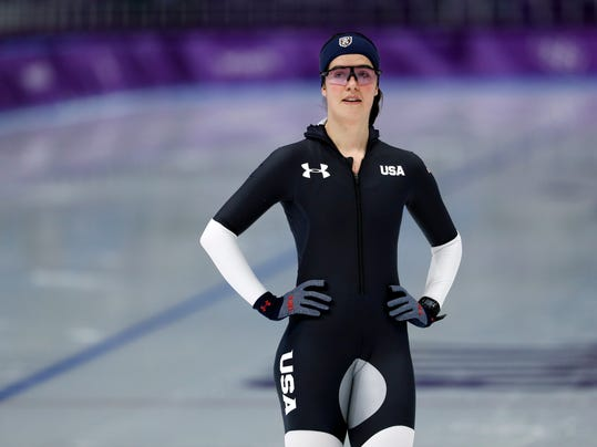 Carlijn Schoutens of the United States warms up before a speed skating training session prior to the 2018 Winter Olympics in Gangneung, South Korea, Friday, Feb. 9, 2018. Carlijn Schoutens wants to bring the best of both worlds to the ice at the Olympics. She is American but has Dutch blood running through her veins. (AP Photo/John Locher)