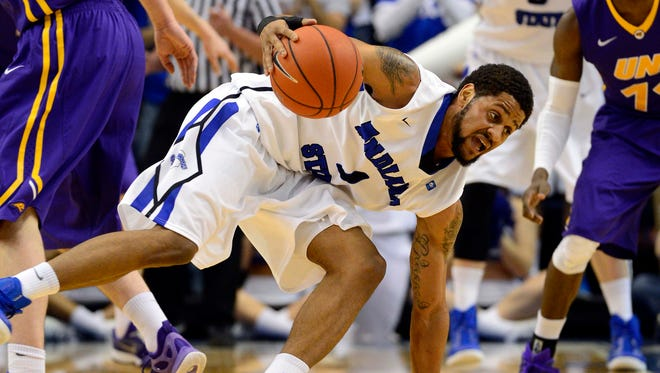 Sycamores guard Khristian Smith, shown here, Feb. 3, helped Indiana State to a win over Loyola Saturday.