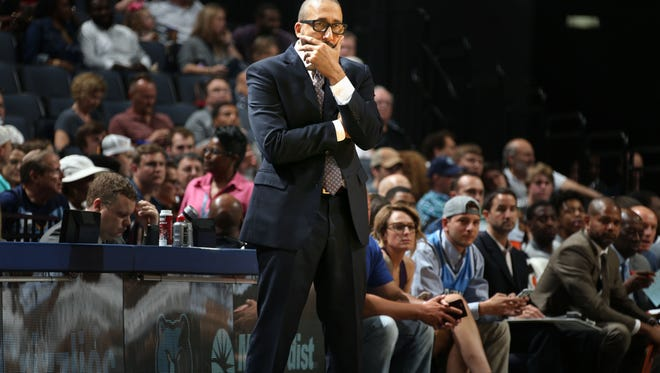 Memphis Grizzlies head coach David Fizdale coaches his team during the preseason game against the Atlanta Hawks at FedExForum.