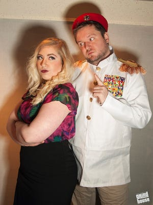"""Hillary Mead as Beatrice and Tobias J. Turner as Benedick in Wildcat Productions' """"Inebriated Shakespeare."""""""