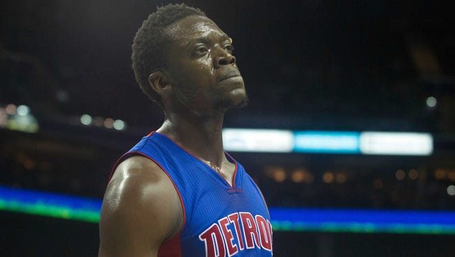 Dec 7, 2015; Charlotte, NC, USA; Detroit Pistons guard Reggie Jackson (1) reacts to a foul call during the second half against the Charlotte Hornets at Time Warner Cable Arena. The Hornets defeated the Pistons 104-84.