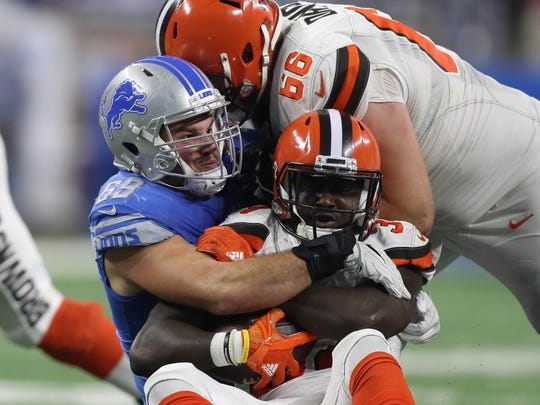 Detroit Lions' Anthony Zettel tackles the Cleveland Browns' Isiah Crowell on Sunday, Nov. 12, 2017 at Ford Field.