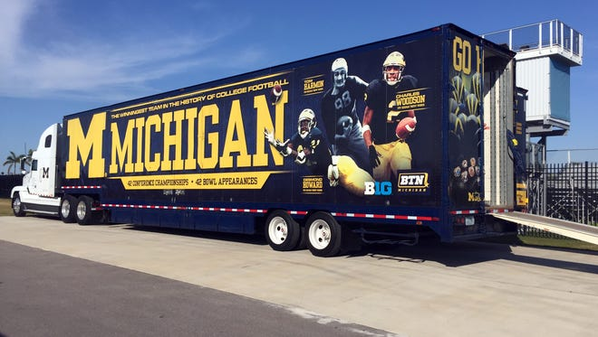 A Michigan equipment truck is parked next to a practice field March 1, 2016 at IMG Academy in Bradenton, Fla.