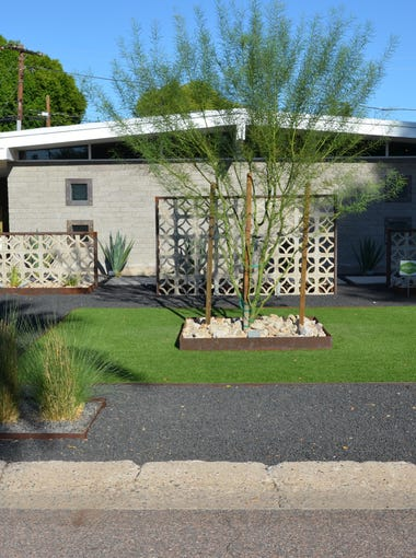 No. 10: Brandon Lee's ranch home features a custom breeze block wall in the front yard, which includes lava rock and a central palo verde tree.