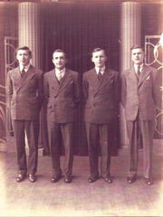Jack Kaslikowski, 18, left with brothers Ted, Stanley and Walter, 15, in 1939 in Stamford, Connecticut.
