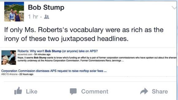 Bob Stump Facebook post, 10/21