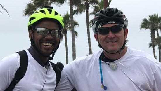 Andre Block, left, and Jonathan Williams, right, are cycling from New Orleans to Canada following the Underground Railroad route to inspire unity.