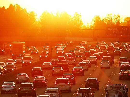 Traffic on the 101 Freeway in Los Angeles backs up in a March heat wave. MARCH.