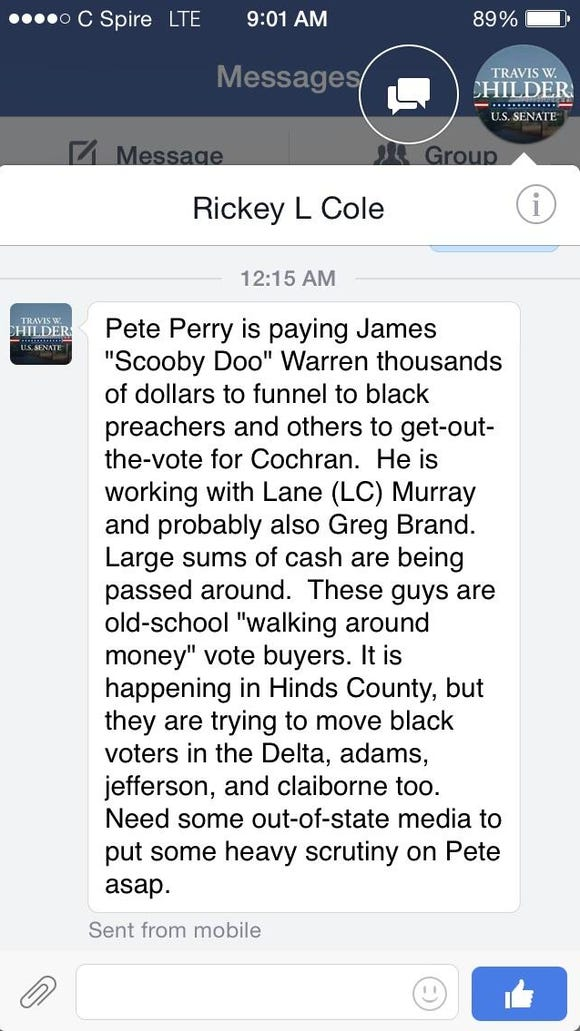 Republican state Sen. Tony Smith tweeted this screenshot of a Facebook message from Mississippi Democratic Party Chairman Rickey Cole to a Wall Street Journal reporter. Smith is supporting fellow state Sen. Chris McDaniel in his GOP primary challenge of incumbent U.S. Sen. Thad Cochran.